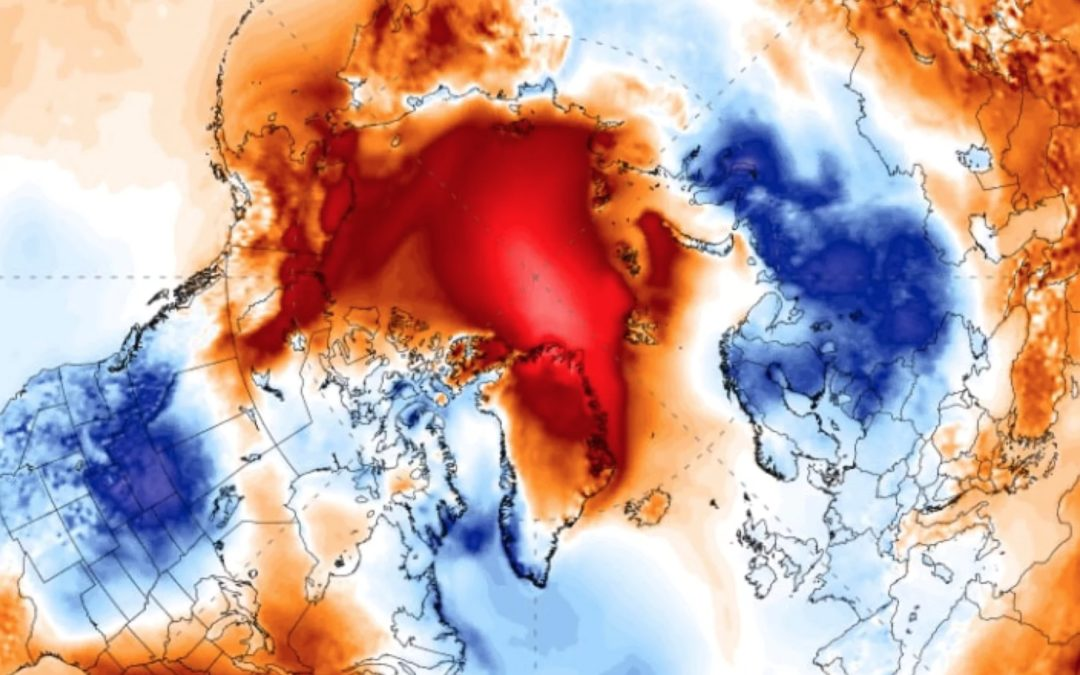 Arctic temperatures soar 45 degrees above normal, flooded by extremely mild air on all sides