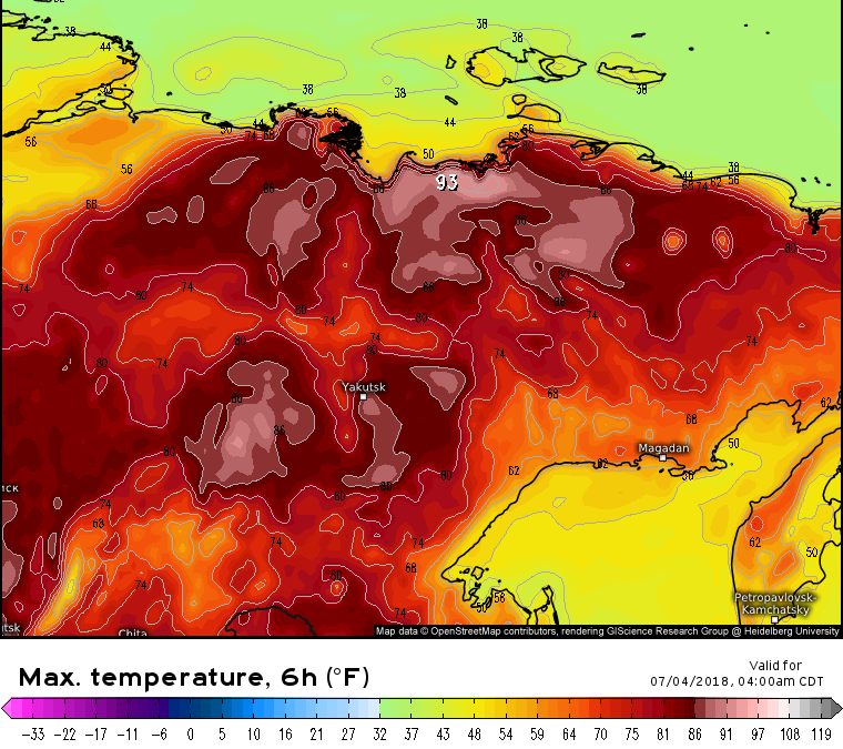 Extreme Heat Event in Northern Siberia and the coastal Arctic Ocean This Week