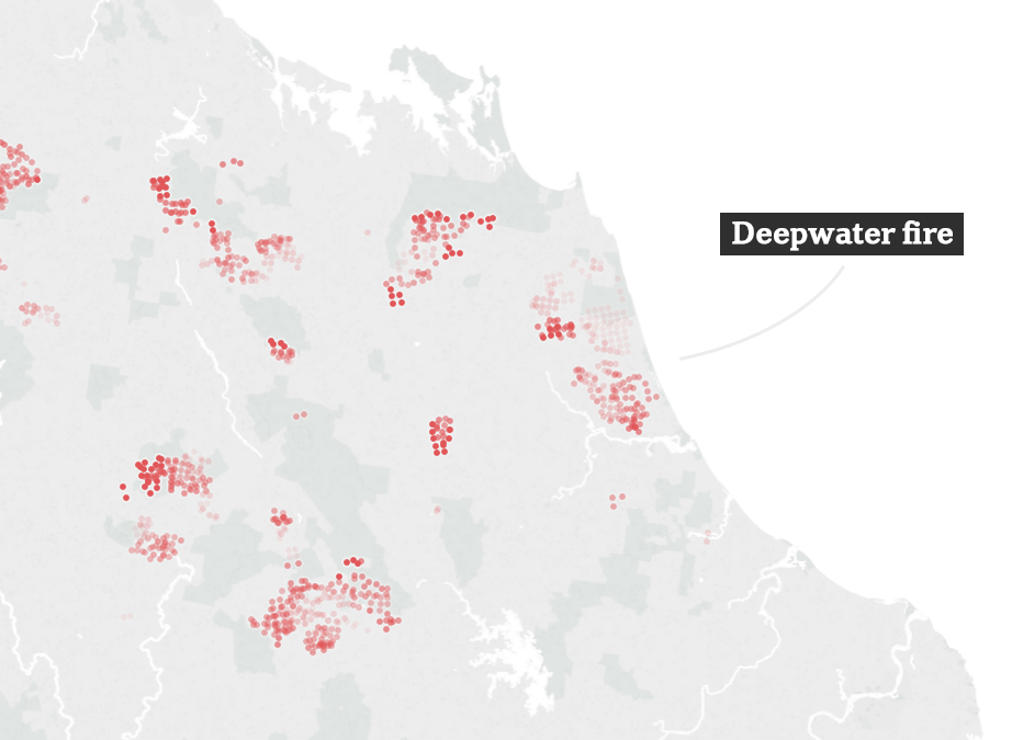 From space, the ferocity of Queensland's bushfires is revealed