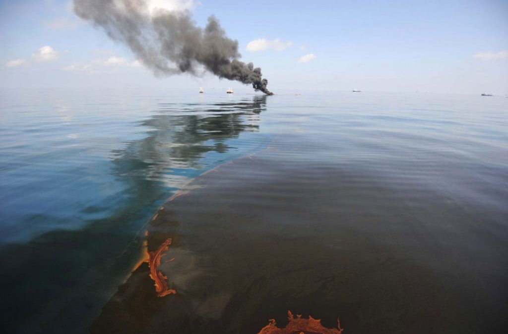 Oil fire in the Gulf of Mexico