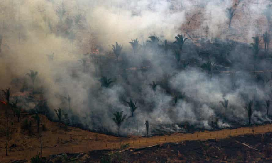 Forest clearance by fire near Boca do Acre in the Amazon basin in north-west Brazil