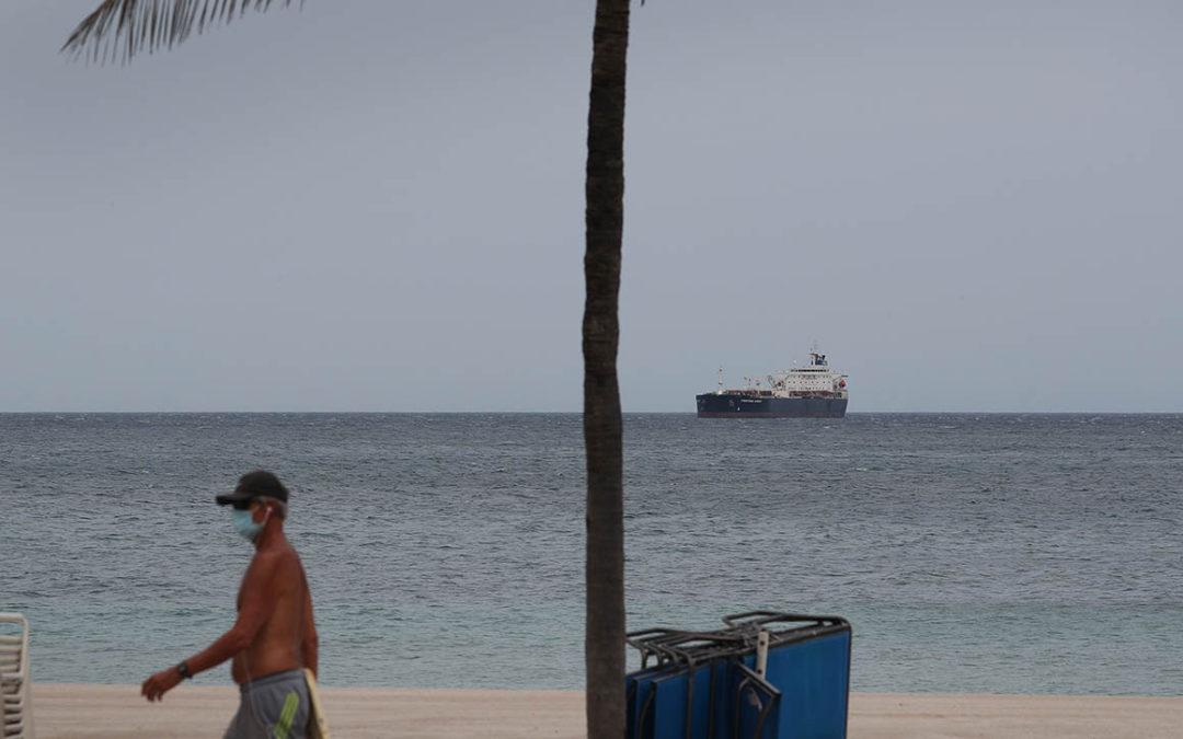 A crude oil tanker in Fort Lauderdale, Florida.
