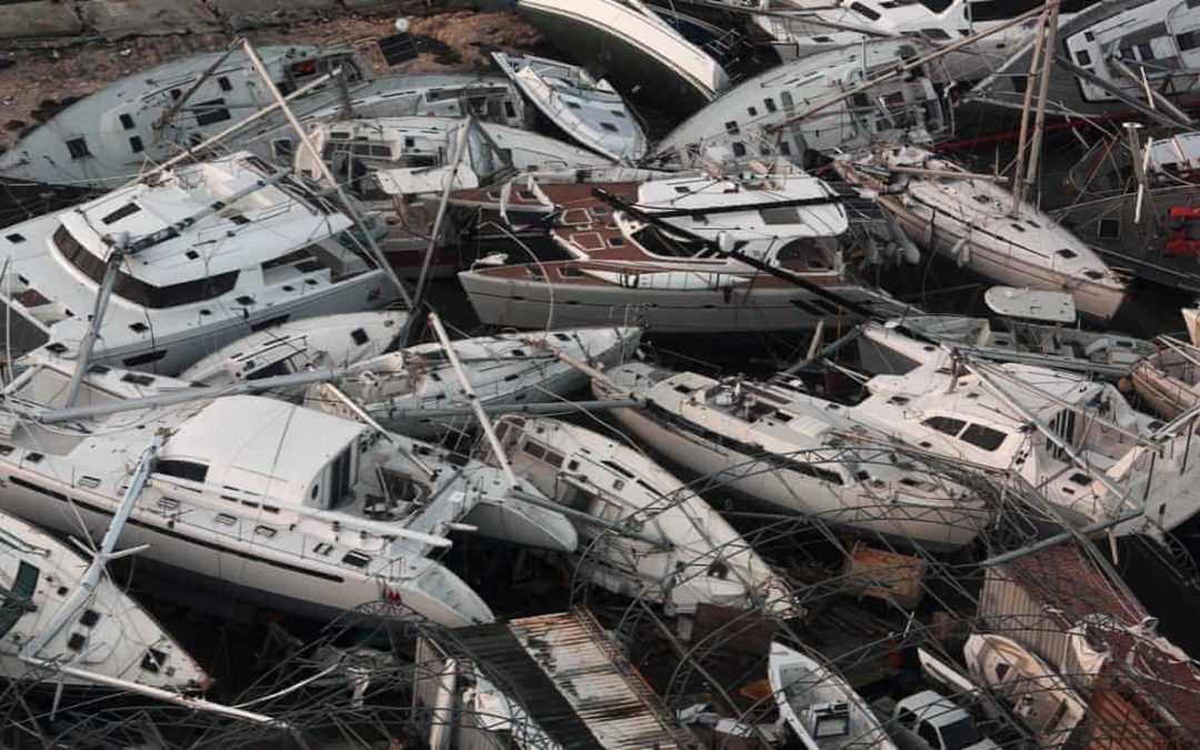 Boats wrecked by Hurricane Irma