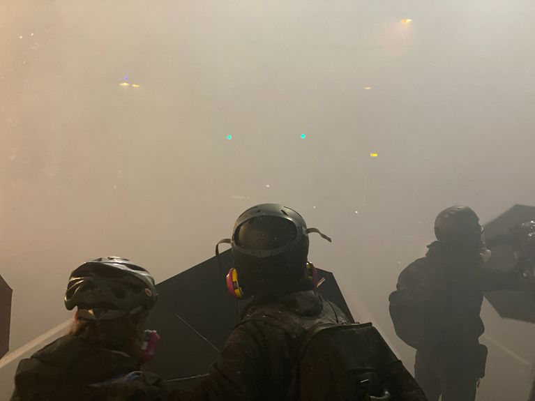 Portland in thick smoke from tear gas canisters