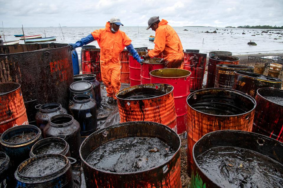 Leaked oil collected in containers