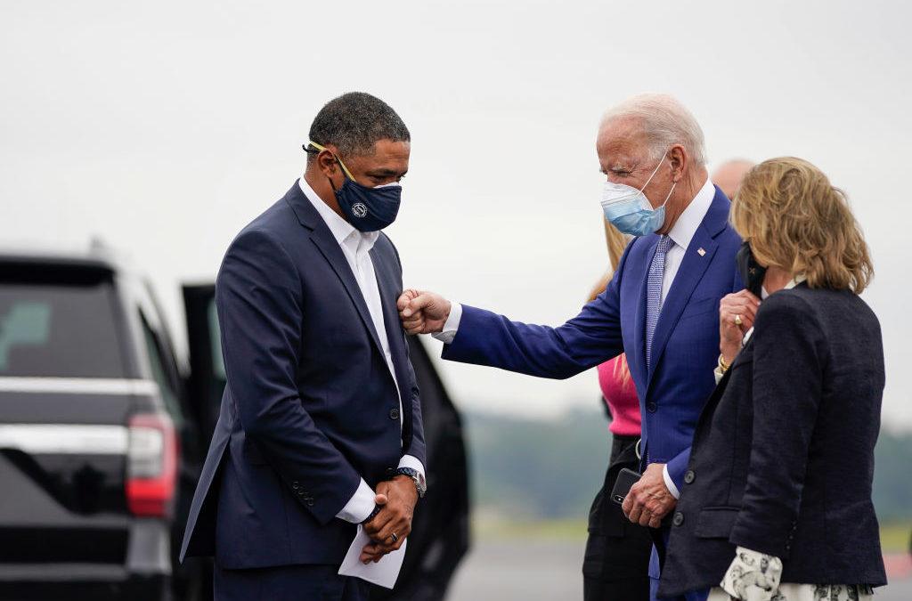 Rep. Cedric Richmond (D-LA) and Joe Biden greet each other