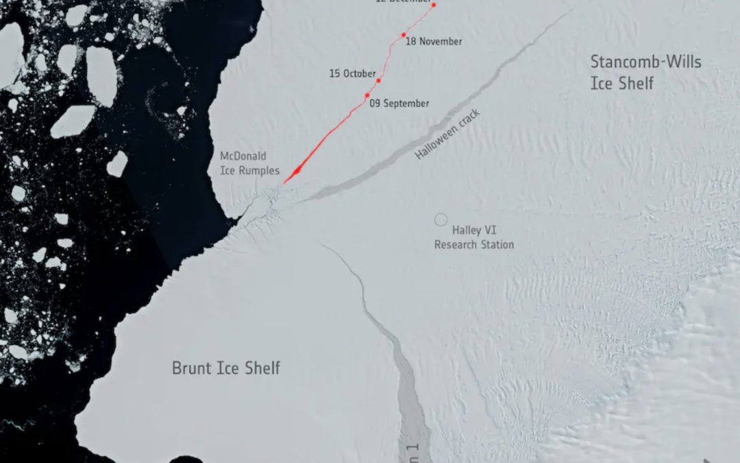 Iceberg larger than New York City breaks off the Brunt Ice Shelf in Antarctica